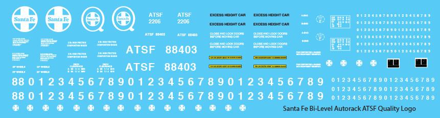 Santa Fe Bi-Level Autorack ATSF Quality Logo Decals