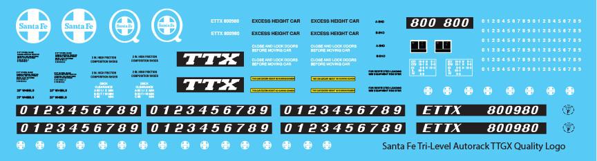 Santa Fe Tri-Level Autorack ETTX Quality Logo Decals
