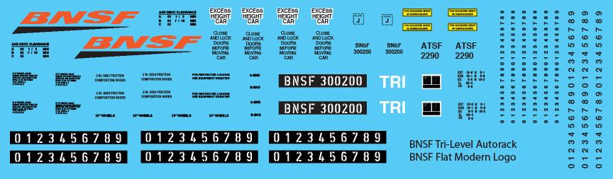 BNSF Tri-Level Autorack BNSF Modern Logo Decals