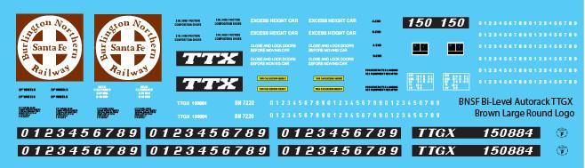 BNSF Bi-Level Autorack TTGX Brown Large Logo Decals