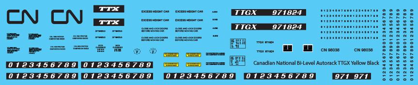Canadian National Autorack Bi-Level TTGX Yellow Black Decals