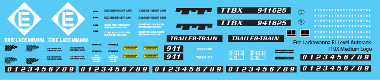 Erie Lackawanna Bi-Level Autorack TTBX Med Logo Decals