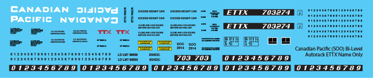 Canadian Pacific Bi-Level Autorack ETTX Name Only Decals