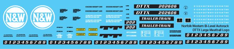 Norfolk Western Bi-Level Autorack DTTX Large Logo Decals