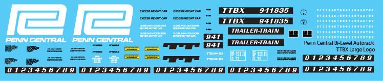 Penn Central Bi-Level Autorack TTBX Large Logo Decals