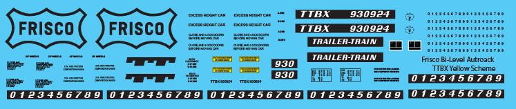 Frisco Bi-Level Autorack TTBX Yellow Decals