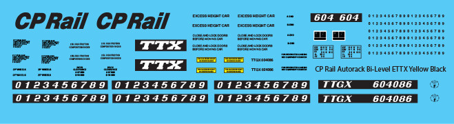 Canadian Pacific Bi-Level Autorack ETTX Yellow Decals
