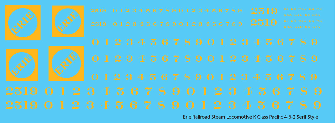 Erie Railroad Steam Locomotive K Class Faded Serif Logo
