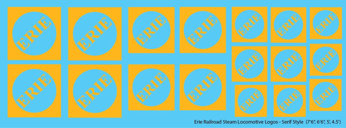 Erie Railroad Steam Locomotive Logos Faded Serif Logos