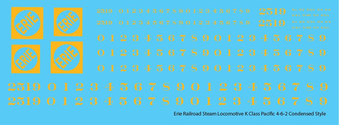 Erie Railroad Steam Locomotive K Class Faded Condensed Logo
