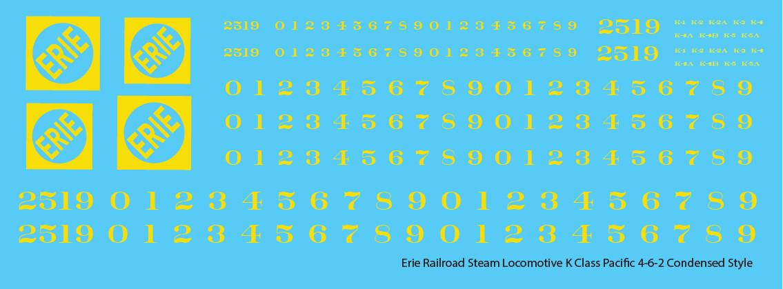 Erie Railroad Steam Locomotive K Class Yellow Condensed Logo