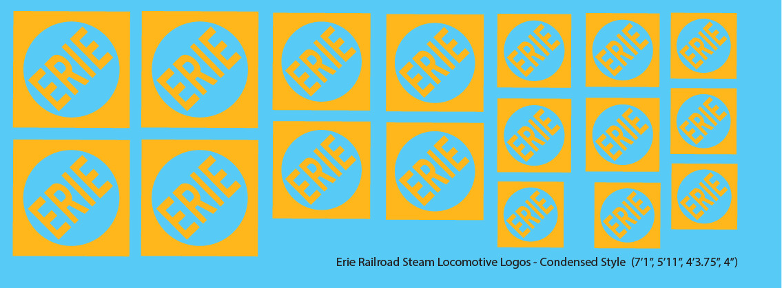 Erie Railroad Steam Locomotive Logos Faded Condensed Logos
