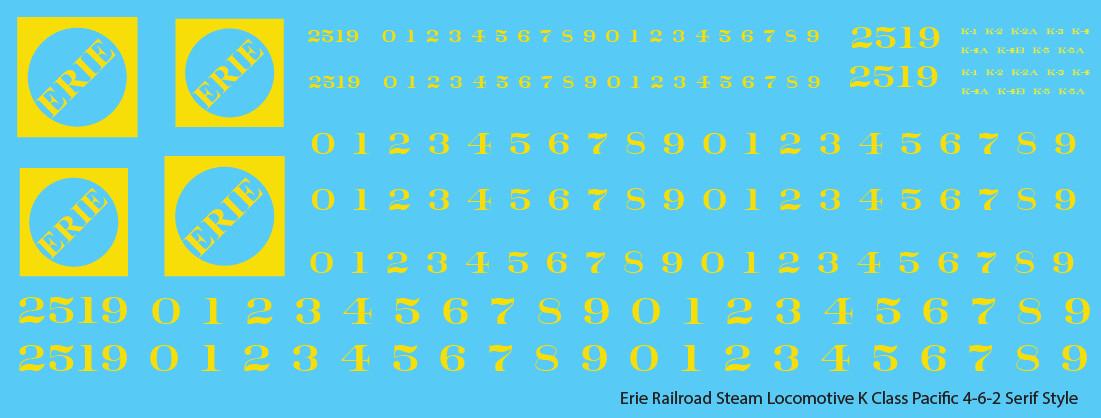 Erie Railroad Steam Locomotive K Class Yellow Serif Logo