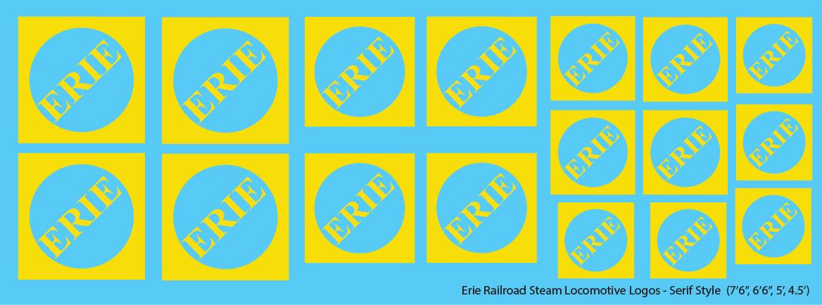 Erie Railroad Steam Locomotive Logos Yellow Serif Logos