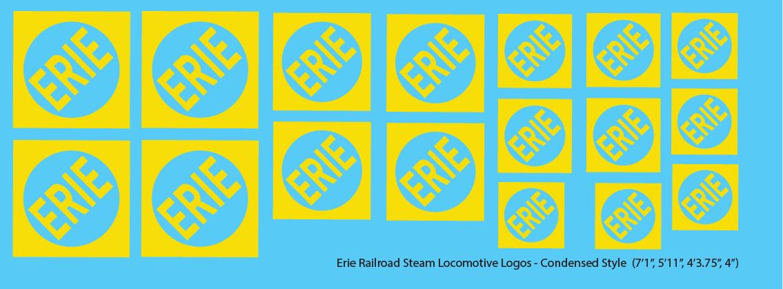 Erie Railroad Steam Locomotive Logos Yellow Condensed Logos