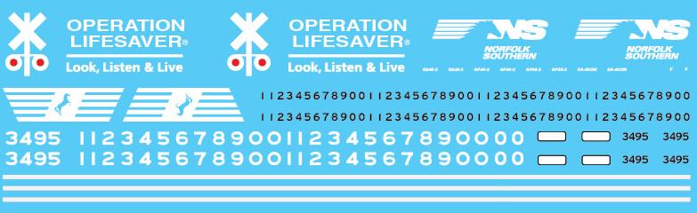 Norfolk Southern Operation Lifesaver Red Lights Decal Set
