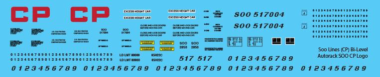 Soo Lines CP Bi-Level Autorack SOO CP Logo Decals