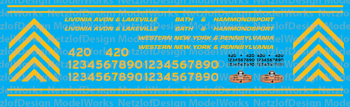 N Scale - Livonia Avon & Lakeville Family of Railroads Locomotive Decals
