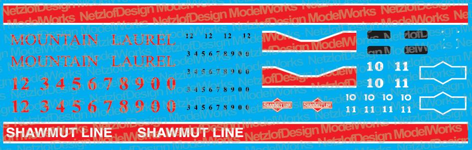 HO Scale - Pittsburg & Shawmut / Mountain Laurel Geeps Decal Set