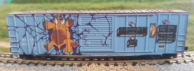 N Scale 50' Modern Box Car - Elephant Toss Graffiti