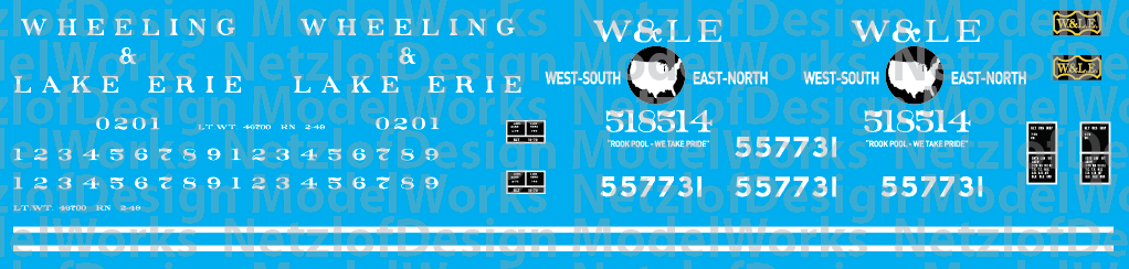 N Scale - Wheeling and Lake Erie Caboose Decals