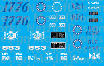 HO Scale - Bessemer & Lake Erie Bicentennial Decal Set