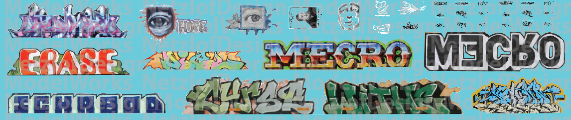 N Scale - Modern Large Graffiti Set 2