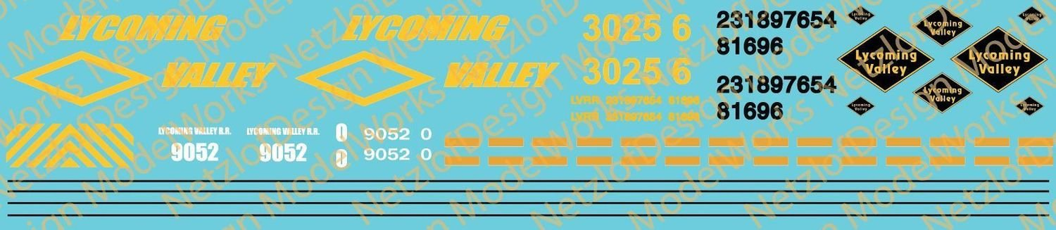 Lycoming Valley Railroad Decal Set