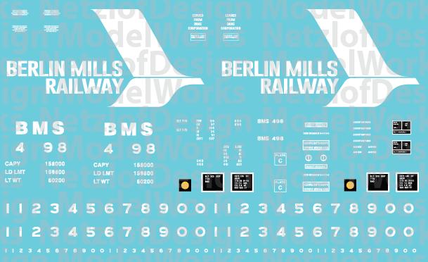 Berlin Mills Railway 50' Boxcar Decals (BMS)