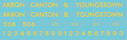 Akron Canton & Youngstown Locomotive Blue/Yellow Decals
