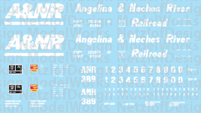Angelina & Neches River Railroad (A&NR) Box Car Decal Set