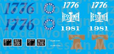 Bessemer & Lake Erie Bicentennial Caboose Decal Set