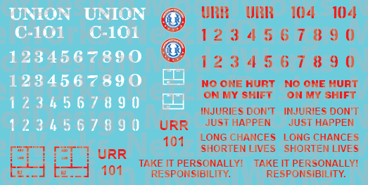 Union Railroad Caboose Decals