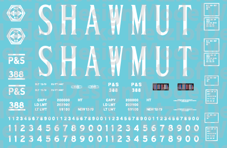 Pittsburg Shawmut 15 Panel Hoppers - Serif Lettering Decals