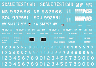Norfolk Southern Scale Test Car Decal Set