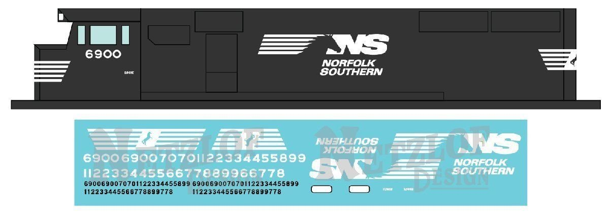 Norfolk Southern SD60E / C40-8.5 Horsehead Scheme Decal Set