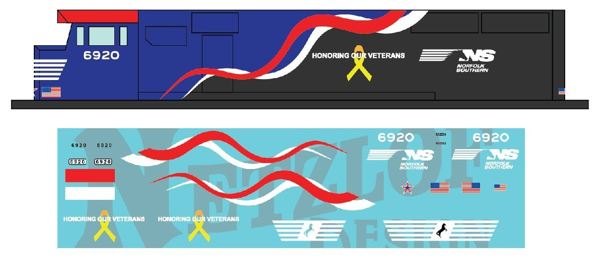 "Norfolk Southern SD60E Decal Set - NS 6920 ""Honoring Our Veterans"""