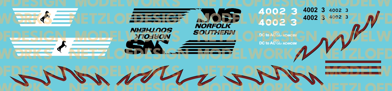 Norfolk Southern AC44C6M Decal Set #4002/4003 (Black/Maroon)