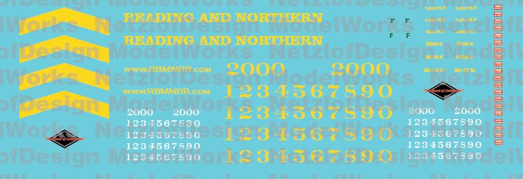 Reading Northern Locomotives SD38 & SD40-2 Decal Set