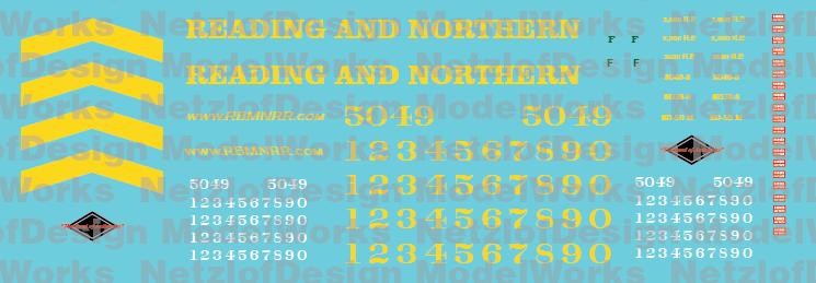 Reading Northern Locomotives SD50 Decal Set