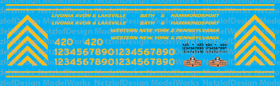 Livonia Avon & Lakeville Family of Railroads Locomotive Decals