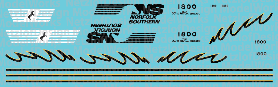 Norfolk Southern SD70ACC #1800 Decal Set
