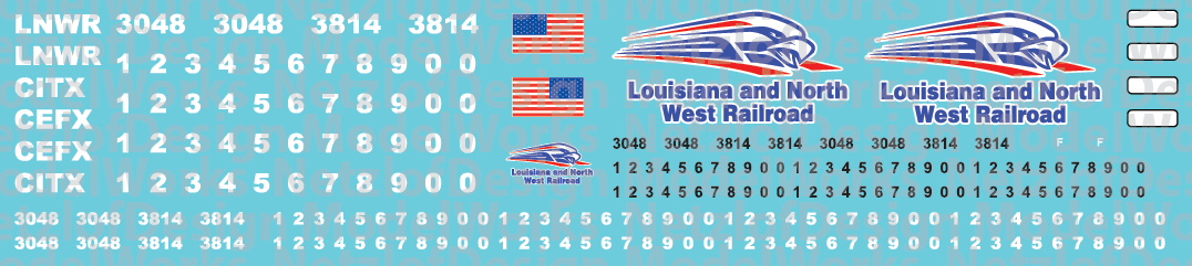 Louisiana & North West Railroad Locomotive Decals