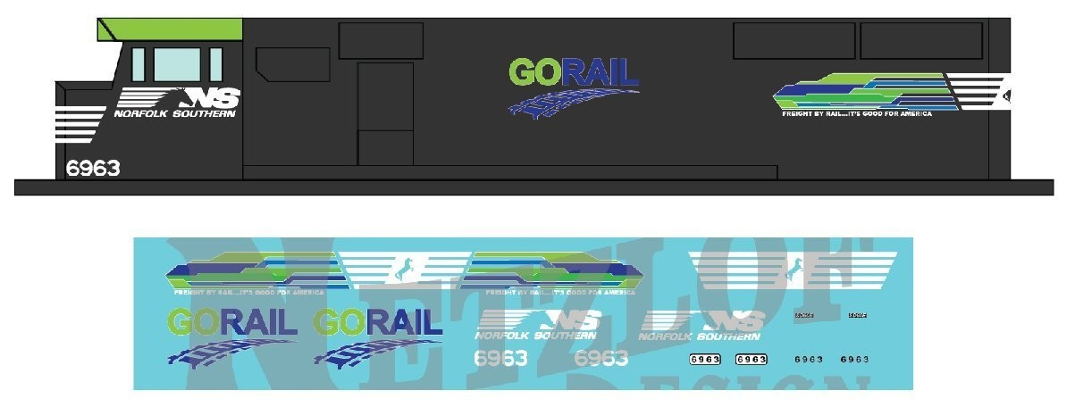 N Scale - Norfolk Southern SD60E Decal Set - GO Rail NS 6963