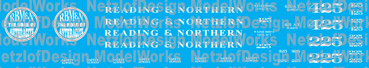 N Scale - Reading & Northern Steam Locomotives (2015+ Paint)