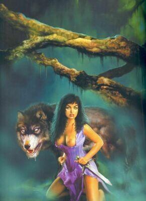 Fantasy Art 1000x741mm cotton wall hanging wolf lady