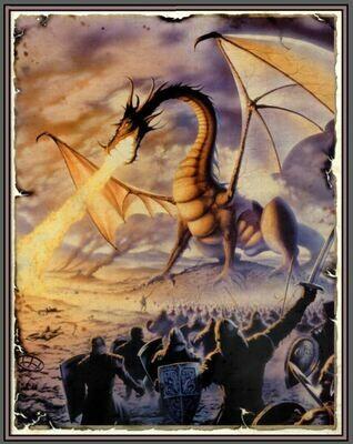 Fantasy Art 555x702mm mm cotton wall hanging dragon 2