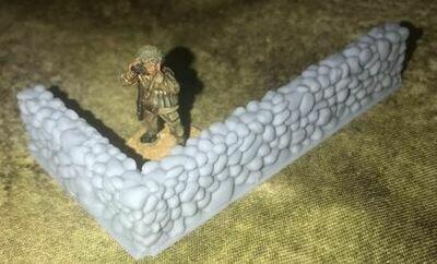 28mm Stone wall terrain L shape