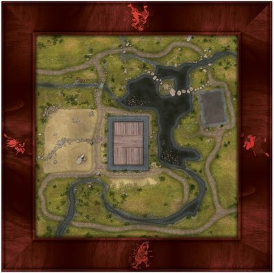 Samurai 4x4 mat with 3x3 gaming area red