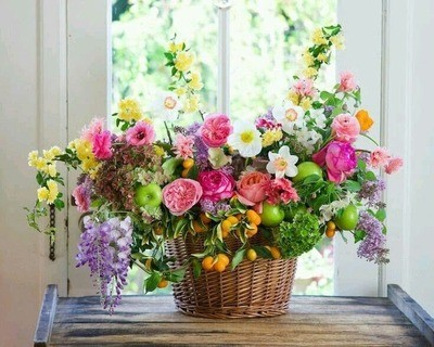 Cestino fiori misti